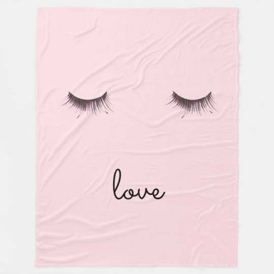 Eyelashes love fleece blanket