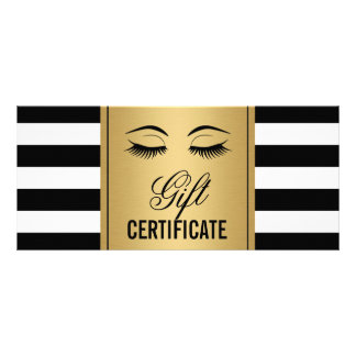 Eyelashes Makeup Gift Certificate Gold B&W Stripes