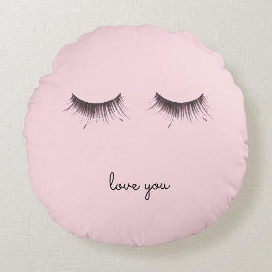 Eyelashes Round Cushion