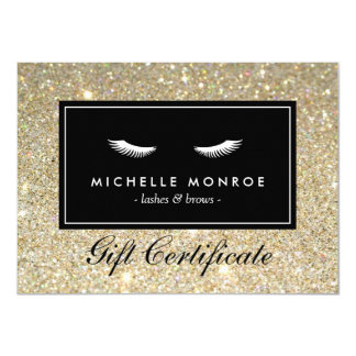Eyelashes with Gold Glitter Gift Certificate 11 Cm X 16 Cm Invitation Card