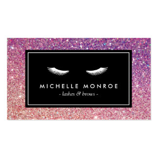 Eyelashes with Purple/Pink Glitter Business Card