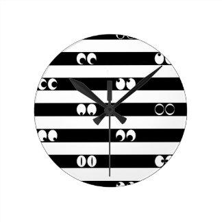 Eyes in Stripes Round Clock