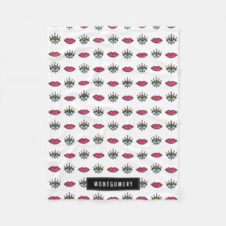 Eyes & Lips Kitschy Pattern Custom Name Fleece Blanket
