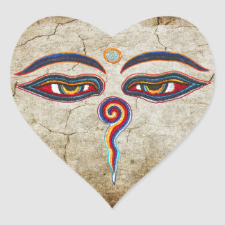Eyes Of Buddha / Augen der Weisheit Heart Sticker