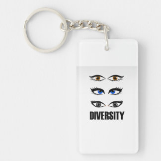 Eyes of women showing diversity Double-Sided rectangular acrylic key ring
