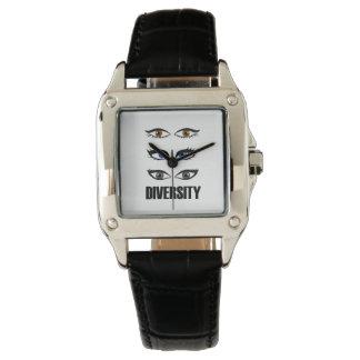 Eyes of women showing diversity wristwatch