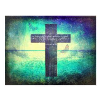 Ezekiel 36:26 Inspirational Bible Verse Postcard