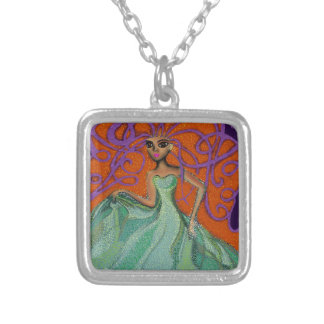 Ezmerelda in Green. Square Pendant Necklace