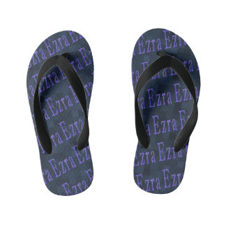 Ezra Name Logos Blue Mosaic Kid's Thongs