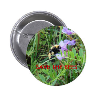 F0002 Bee on Purple Wildflowers 6 Cm Round Badge