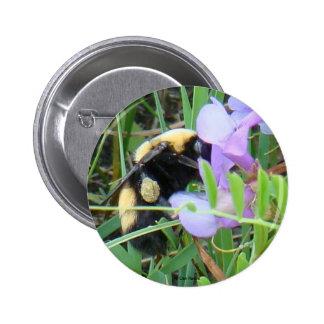 F0002 Bee on Purple Wildflowers button