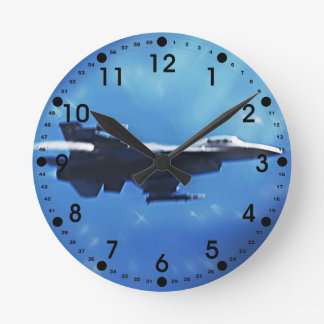 F16 Fighting Falcon Fighter Jet In Flight Round Clock