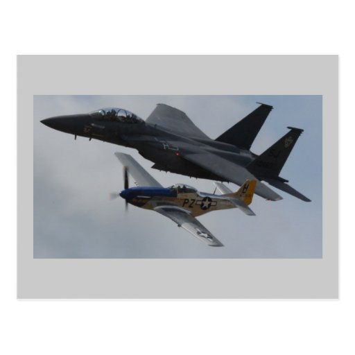 F-15 EAGLE + P-51 MUSTANG FORMATION POSTCARDS