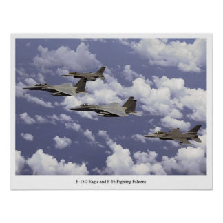 F-15D Eagle and F-16 Fighting Falcons Poster