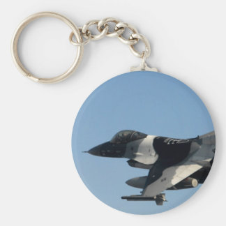 F-16 FALCON IN CAMO BASIC ROUND BUTTON KEY RING