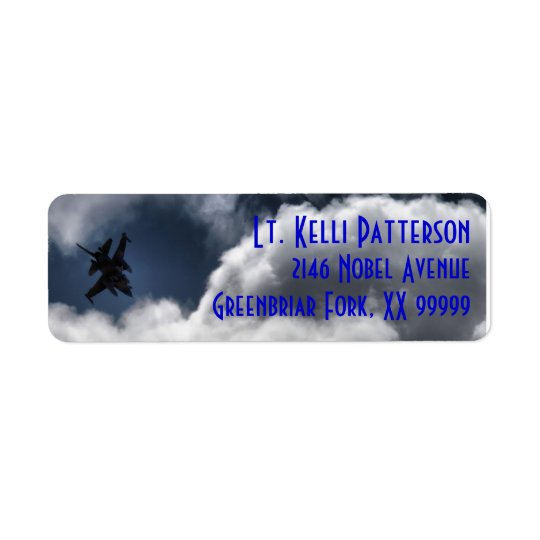 F-16 Falcon in the Cloudy Sky 3 Line Return Address Label