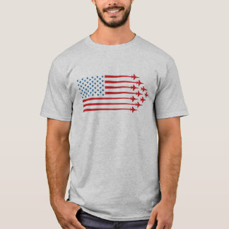 F-16 Fighter Jet American Flag Red and Blue T-Shirt