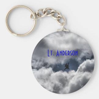 F-16 Fighting Falcon in Clouds with Full Name Key Ring