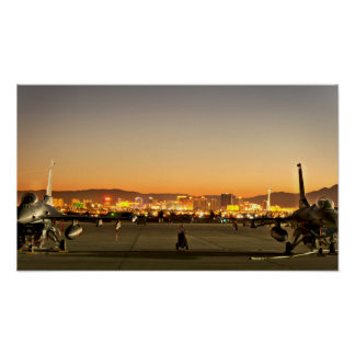 F-16 Fighting Falcons at Air Force Base-Las Vegas Poster