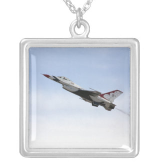 F-16 Thunderbird In Flight Silver Plated Necklace