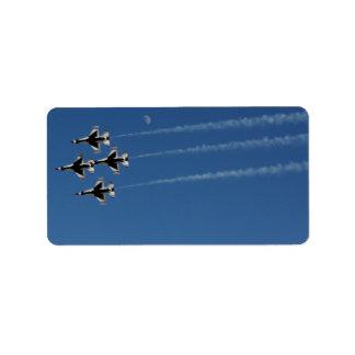 F-16 Thunderbirds Diamond  Formation Address Label