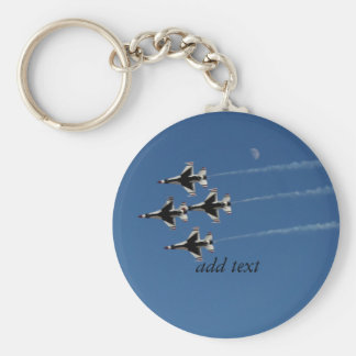 F-16 Thunderbirds Diamond  Formation Basic Round Button Key Ring