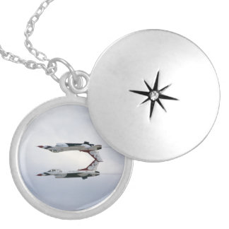 F-16 Thunderbirds Maneuver - Inverted Silver Plated Necklace