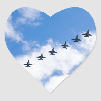 F-18C Hornets flying in blue sky with clouds Heart Stickers