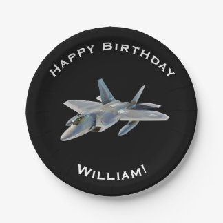 F-22 Fighter Jet Birthday with Personalized Name 7 Inch Paper Plate