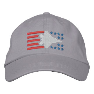 F-22 Fighter Jet Stars and Stripes Embroidered Hat