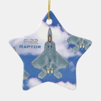 F-22 Raptor Double-Sided Star Ceramic Christmas Ornament