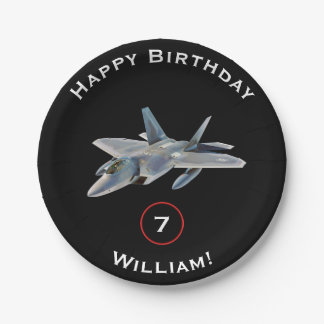 F-22 Raptor Fighter Jet Birthday with Name and Age 7 Inch Paper Plate