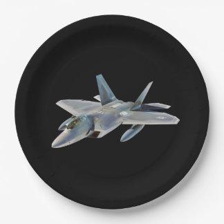 F-22 Raptor Fighter Jet on Black 9 Inch Paper Plate