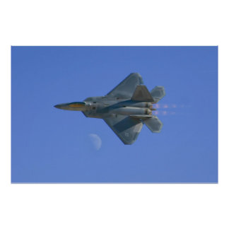 F-22 Raptor High Speed Pass Over the Moon Poster