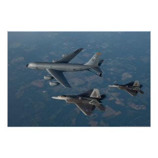 F-22 Raptors and KC-135 Stratotanker Poster