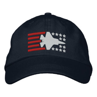 F-35 Fighter Jet Stars and Stripes Embroidered Hat