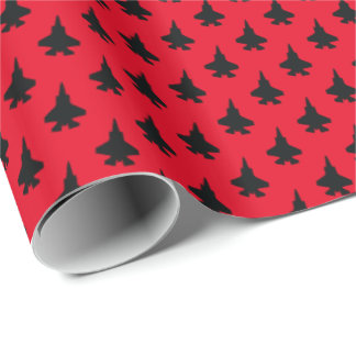 F-35 Lightning 2 Fighter Jets Pattern Black Wrapping Paper
