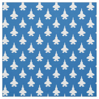 F-35 Lightning 2 Fighter Jets Pattern White Blue Fabric