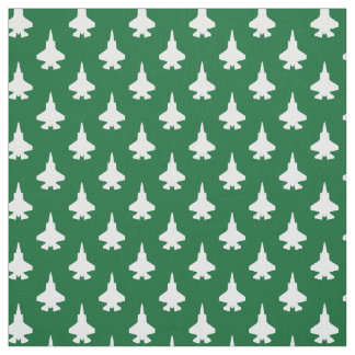 F-35 Lightning 2 Fighter Jets Pattern White Green Fabric