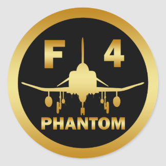 F-4 PHANTOM JET CLASSIC ROUND STICKER