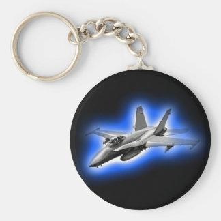F/A-18 Hornet Fighter Jet Light Blue Basic Round Button Key Ring