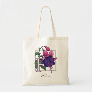 F for Fuchsia Flower Monogram Bag