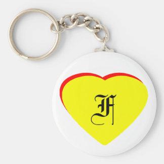 """F"" Heart Yellow Red Wedding Invitation The MUSEUM Keychain"