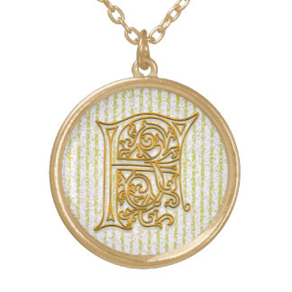 "F Initial Monogram ""Gold Pin Stripe"" Necklace"