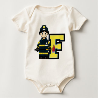 F is for Cartoon Fireman Baby Bodysuit