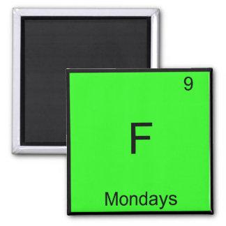 F - Mondays Chemistry Element Symbol Funny Square Magnet