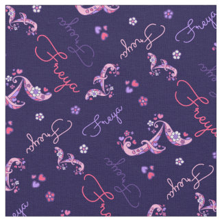 F monogram and personalized name Freya fabric