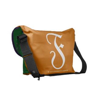 F Monogram Copper, Amethyst, Kelly Green Messenger Bag