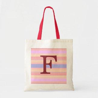 F :: Monogram F Summer Stripes Fun Tote Bag