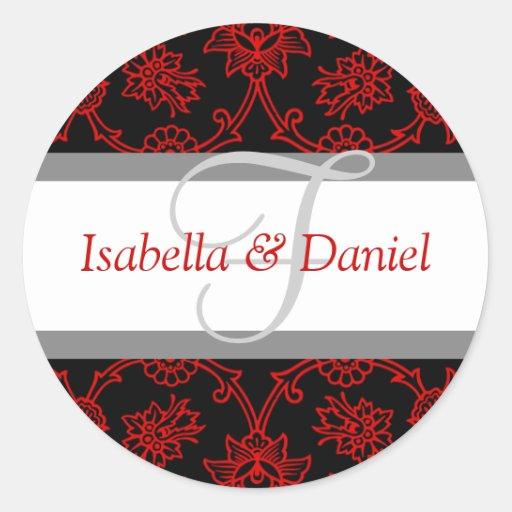 F Monograms For Wedding Invitation Seals Round Sticker